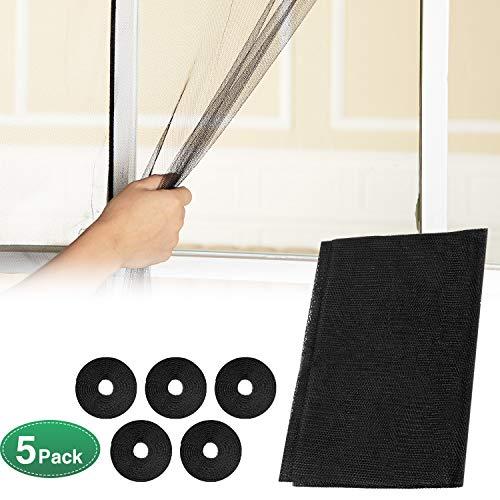 5 Stücke Fliegengitter Fenster Bildschirm Netting Mesh Vorhang 1,3 x 1,5 m Fenster Schirm Schutz mit 5 Rolls Selbstklebebändern für Home Küchenbedarf, Schwarz (Polyester Mesh-bildschirm)