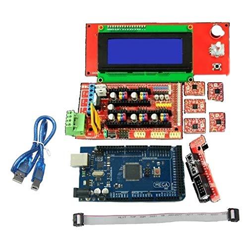B Baosity 2560 R3-Steuerplatine + 1.4-Platine + A4988 Treiber + LCD-Platine + FC-10P-Flachkabel + Adapterplatte für 3D Drucker