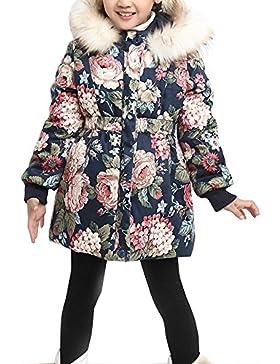 OCHENTA Chicas Abrigos chaqueta flores caliente de invierno con capucha Ropa de niños