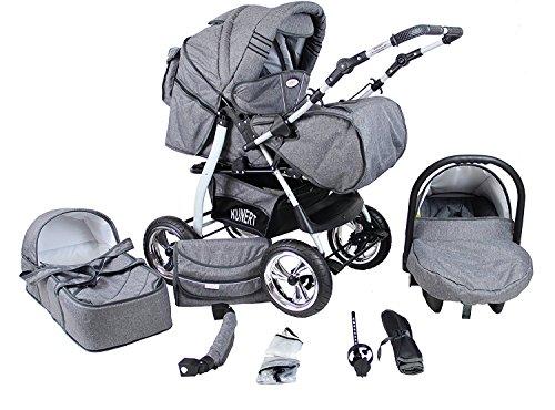 Clamaro \'VIP\' 3in1 Premium Kombikinderwagen System, Kinderwagen Kombi mit Babywanne, Buggy und Auto Babyschale Gruppe 0+ (0-13 kg), Felge: ALU (Hartgummi Reifen), Design: 65. Grau/Leinen