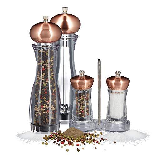 5 teiliges Pfeffermühlen Set, manuell, 2 große und 2 kleine Gewürzmühlen, mit Halter, Salzmühle mit Keramikmahlwerk, nachfüllbar, kupfer
