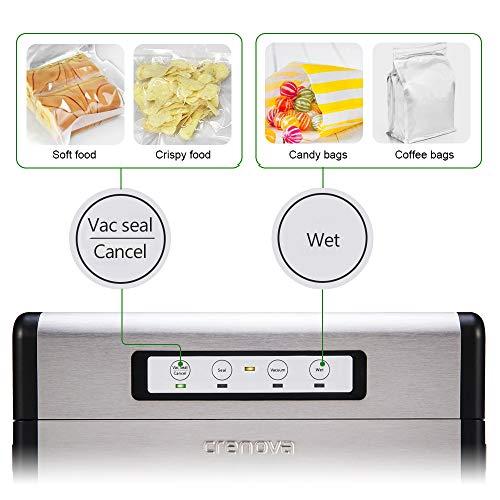 [Aktualisiert] Vakuumierer, Crenova VS100S – Vakuumiergerät für Nahrungsmittel, manuelle Pausenfunktion für brüchige Lebensmittel, +10 gratis Profi-Folienbeutel - 8