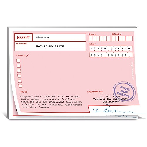 KULTFAKTOR GmbH Rezeptblock Ruhe auf Rezept Not to-Do-Liste rosa-Weiss 10,5x14,8cm Einheitsgröße
