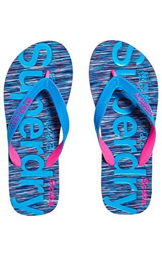 Superdry Scuba Flip Flop, Tongs Femme Multicolore (Purple&Blue Slub)