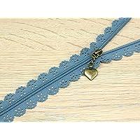 F J Fusion Fancy Lace Reißverschluss mit Antik Messing Abzieher 30cm blau–PRO ZIP