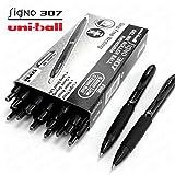 Uni-Ball Signo 307 - Fine Retractable Rollerball Pen - 12 + 2 Free - Black - UMN-307