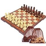 Peradix Schachspiel Magnetischem Einklappbar Deluxe Schachbrett mit Aufbewahrungsbeutel Schach für Kinder ab 6 Jahre und Erwachsene, aus WPC (35*30cm Braun)
