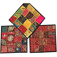 Conscious Living Decorative Vintage Recycled Indian Cushion Covers Pillow Shams Set of 3 Size 16X16 (Black,Maroon)
