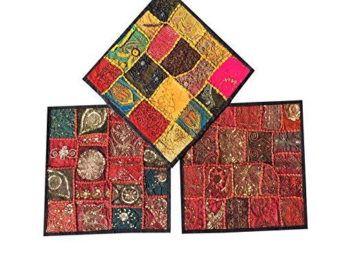 CONSCIOUS Living Deko Vintage-recyceltem indischen Kissen Kissenbezüge Set von 3Größe 16x 16, baumwolle, Black,maroon, 16X16 (Maroon Sari)