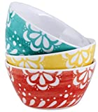 Set of 3 Melamine cereal bowls or Soup Bowls Multi Coloured Break Resistant Bowls