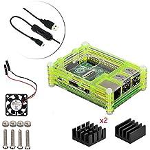 4 en 1 kit profesional para Raspberry Pi 3 & Raspberry Pi Modelo B 2, negras en rodajas 9 Capas caja de la caja de refrigeración + cable USB Mini Fan + Micro con giro / encendido, fresco (verde)