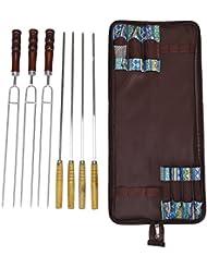 Angelbubbles Kits de utensilios BBQ herramienta barbacoa pinchos 100% acero inoxidable 304 + resistente al calor mango de madera + Bolsa de almacenamiento portátil para viajar camping al aire libre (7pcs/conjunto)
