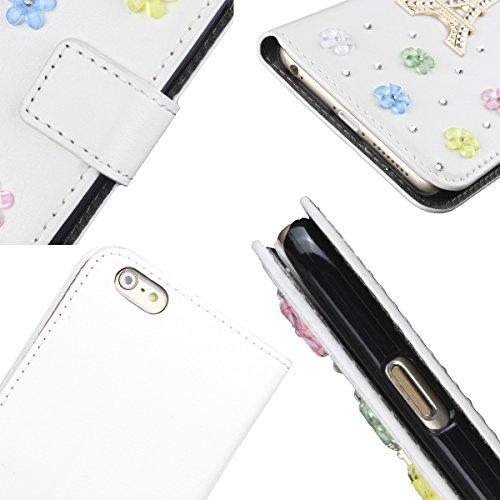 """MOONCASE iPhone 6 Plus Case Prime PU Cuir Housse Étui pour iPhone 6 Plus (5.5"""") Flip Wallet Style Stand Cover con Cute Doggy Glitter Bling Diamante A02"""