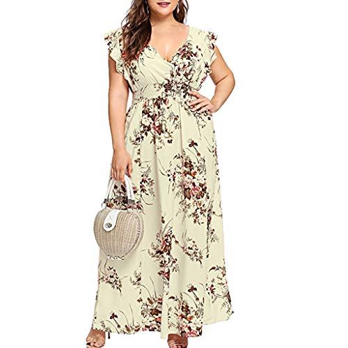MRULIC Freizeitkleider Rückenfreies Kleid Damen Midi Kleider V-Ausschnitt Wrap Floral Partykleid Damen Gedruckt Asymmetrische Camisole Ärmelloses Kleid Strand Chiffon Abendkleid Rosa Chiffon Wrap