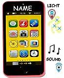 Smartphone - Handy mit 40 Sound´s & Musik & Licht -  PINK / ROSA  - incl. Name - für Kinder / Jungen & Mädchen - Auto - elektrisches Kinderhandy - Telefon -..