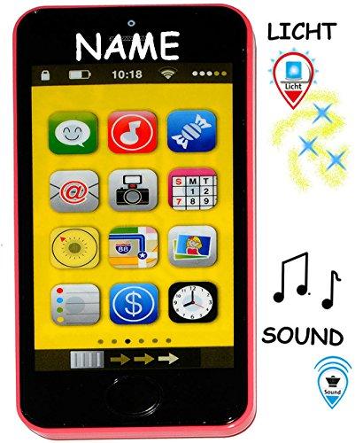alles-meine.de GmbH Smartphone - Handy mit 40 Sound´s & Musik & Licht -  PINK / ROSA  - incl. Name - für Kinder / Jungen & Mädchen - Auto - elektrisches Kinderhandy - Telefon -..