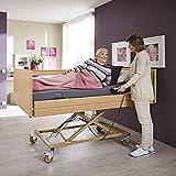 Pflegebett De Luxe Elektro mit Matratze und Aufstehhilfe - elektrisch verstellbar - orthopädisches Bett höhenverstellbar für ältere Menschen Senioren - Krankenbett Seniorenbett Transportbett