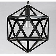 Luces de techo Nordic industrias creativas estilo retro pájaro de hierro forjado araña de araña de la jaula de diamantes de barras de hexaedro sola cabeza Art Restaurant araña Luces decorativas ( Estilo : A )