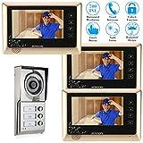 KKmoon 7 Pollici Cablata Sistema Video Telefono del Portello Citofono Visivo Campanello Pannello Toccare con 3*800x480 Monitore dell'Interno + 1*700TVL Telecamera Esterna Infrarosso Visione Notturna
