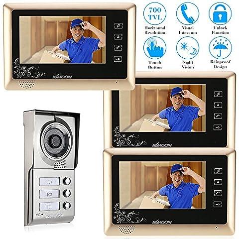 KKMOON 7 Zoll Wired Video Tür Telefon System Visuelle Gegensprechanlage Regendichte Türklingel Touchpanel mit 3 * 800 x 480 Innen-Monitor + 1 * 700TVL Outdoor Kamera Entsperren Infrarot-Night View