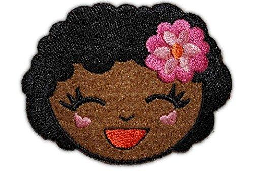 Afrika-patch (Mädchen 6,6 cm * 5,2 cm Bügelbild Aufnäher Applikation schwarze dunkel)