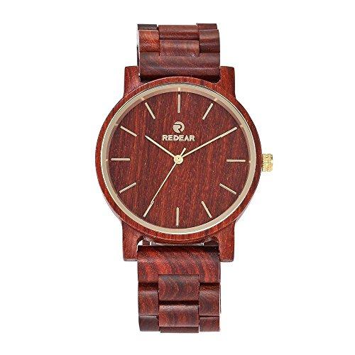 REDEAR Herren Analog Quarzwerk Hölzern Uhr mit Bambusband SJ1624 Rot
