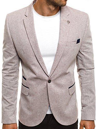 OZONEE Herren Sportsakko Sportliche Sakko Jackett Slim Fit Blazer Anzugjacke Business Anzug Kurzmantel BLACK ROCK 05-6 L
