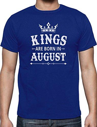 Geschenk T-Shirt für den Mann - Kings are born in August T-Shirt Blau