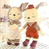 Leoie 2pcs Cute Sleeping Rabbits Plush Dolls Lovers Dolls For Kids Baby Birthday/Christmas Gift Children Toy - 37cm/47cm/55cm Companion Rabbit 37 Cm