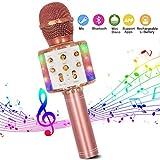 Microphone Sans Fil Karaoké, Bluetooth Micro Lecteur de karaoké portable 4 en 1 avec lumières LED dansantes Compatible avec les...