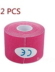 mark8shop 2pcs Rosa Deportes Kinesiología cinta Músculos Cuidado Terapéutico Vendaje