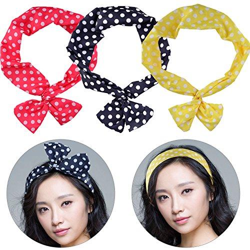 Bandes de cheveux de femmes, Fascigirl 3Pcs Bandes de Cheveux à la mode Dots Imprimé Couleurs Assorties Bow Bandeaux pour les Filles