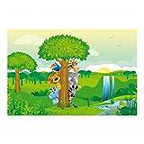 Kindertapete - Fototapete Dschungel - No.BF1 Dschungeltiere - Vliestapete Breit, Größe HxB: 225cm x 336cm