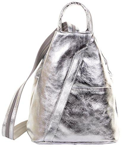 Primo Sacchi ® Italienisch Leder Metallic Silver Top Griff Schultertasche Rucksack Rucksack. Inklusive Markenschutz-Aufbewahrungstasche (Tops Eitelkeiten Mit)