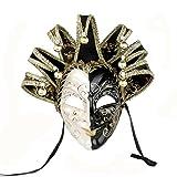 YUFENG New Orleans Mardi Gras Schwarz Weiß Bell Maske Jester Kostüm Paraden Karneval Ball - Mehrfarbig -