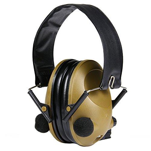 Elektronischer Aktiver Gehörschutz EAR PROTECT Oliv mit Aux-Eingang Metallbügel verstärkt Umgebungsgeräusche für Jagd