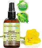 Huile d'Onagre BIO. 100% / organique / Froid certifié naturel pur non dilué non raffiné l'huile pressée. Antioxydant riche pour rajeunir et hydrater la peau et les cheveux - 120 ml.