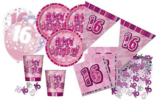 16. Geburtstag 56 Teile Sweet Sixteen Party Set Pink 16 Personen