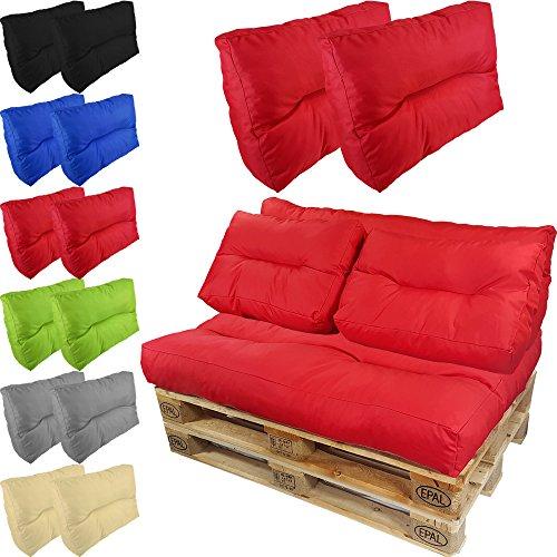 proheim paletten kissen lounge 2 kurze r ckenkissen 60 x 40 cm in rot paletten auflage polster. Black Bedroom Furniture Sets. Home Design Ideas