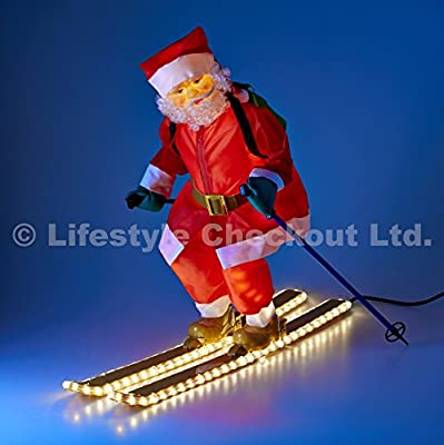 75cm Santa on Skis with LIGHT UP Rope and Body for Outdoor Christmas Home & Garden Decoration
