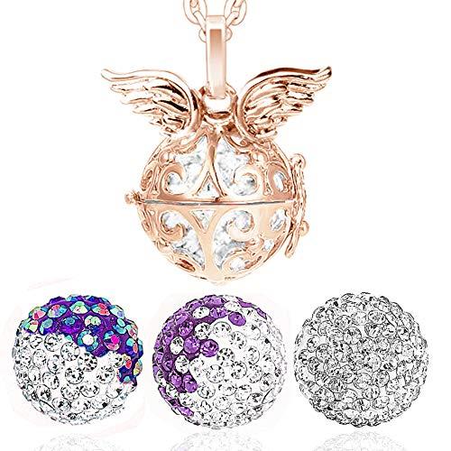 AKKi jewelry Damen Halskette 70 cm mit Ornament Anhänger und 3 Engelskugel Engel-Kette-rufer Klangkugel Ø 14 mm in Schmuckbeutel zur Farbauswahl Multi Lila