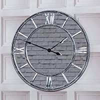BARGAINS-GALORE 55CM ROUND VINTAGE ANTIQUE MIRRORED ROMAN NUMERALS WALL CLOCK HOME DECOR GIFT