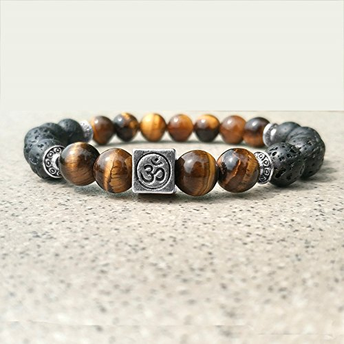 Burenqi@ Bead Armband Buddha Kopf allgemeine Quadrat 8mm vulkanischen Stein Perlen Religion, EIN