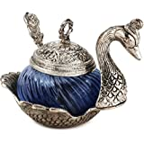 Paheli Craft Oxidised Silver Metal Single Duck Shaped Glass Bowl Dark Blue Burni Multi Purpose Kitchen Sugar Or Masala Bowl Decorative Handicraft Gift Item Home Decor Rajasthani Showpiece