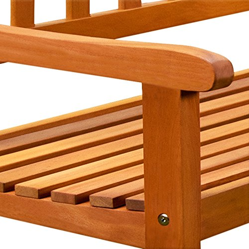 Holz Eckbank Gartenbank Holzbank Sitzbank Bank Gartenmöbel Parkbank Sitzgarnitur ✔FSC®-zertifiziertes Eukalyptusholz ✔ergonomisch ✔witterungsbeständig ✔145 cm x 145 cm x 90 cm - 3