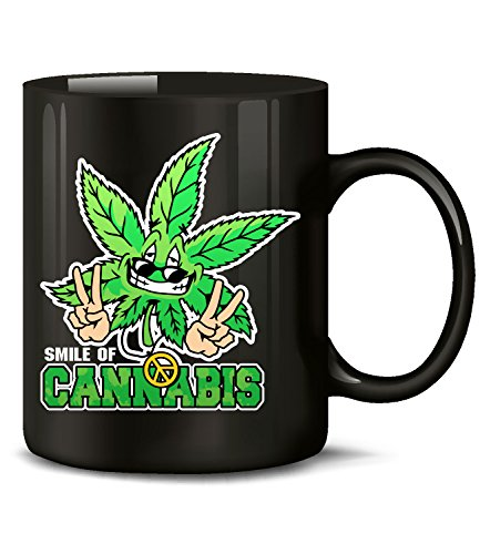 Golebros Smile of Cannabis 5343 Drogen Kiffer Fun Tasse Becher Kaffeetasse Kaffeebecher mit Spruch Marihuana Schwarz