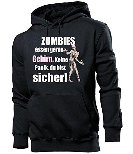 Zombies Essen gerne Gehirn 5127 Halloween Kostüm Männer Fun Hoodie Herren Kapuzen Pullover Sweatshirt Pulli mit Spruch Geschenk Ideen Schwarz XXL