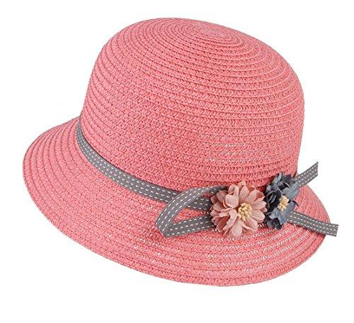 La vogue Kinder Mädchen Sonnenhut Sommer Blumen Strohhut Strandhut Pink