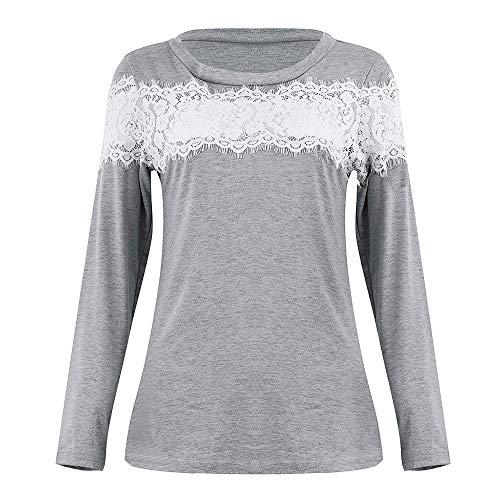 Briskorry Damen Beiläufig Elegant Spitze Hemd Lange Ärmel Sweatshirt Schulter Bluse Oberteile T-Shirt Herbst Tops