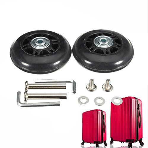 BADASS SHARKS Paar Gepäck-Koffer Ersatz Wheels Rad Gummi Metall für Trolley Gepäckkoffer Hartschalenk ffer (50x18mm)